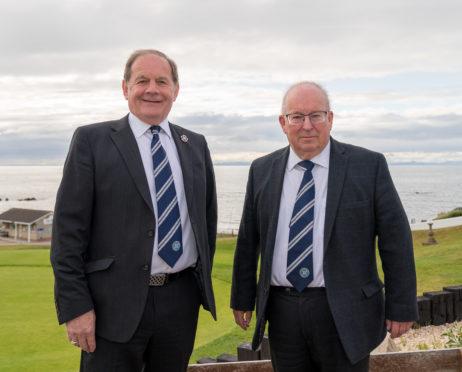 Raymond Cardno (president) and Rod Houston (secretary) of the Highland League.