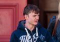 Liam Hunter leaving Elgin Sheriff Court.