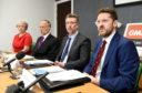 Picture by SANDY McCOOK    9th May '19 Sturrock report in to bullying claims within NHS Highland, findings announced. 'Whistle blowers' press conference held in the GMB offices in The Green House, Inverness, (L-R) Drs Lorien Cameron-Ross, Alistair Todd, Jonathan Ball and Iain Kennedy.