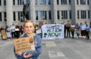 The Aberdeen Student Climate Strike on Friday. The students in Aberdeen are gathered in front of the Marischal College at 11am to show their support in the global movement against the climate change.     Pictured - Isabella Maria Engberg in front of the protesters.     Picture by Kami Thomson    24-05-19