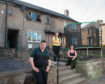 Pictures show Dad Ryan Craig Milne, Daughter Kaitlyn Anne Thomas and mum Donna Anne Thomas outside their burnt out property in Rothes, Moray. Picture: Jason Hedges