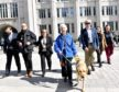 Pictured - L-R Cllr John Wheeler, Guide Niall Foles, Cllr Jackie Dunbar, Mary Rasmusen with her guide dog Vince, Cllr Ian Yuill, Guide Cate Vallis and Cllr Sandra MacDonald cross the road.     Picture by Kami Thomson