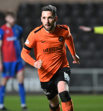 26/02/19 LADBROKES CHAMPIONSHIP DUNDEE UNITED V INVERNESS CT TANNADICE - DUNDEE Nicky Clark turns away to celebrate his opening goal for Dundee United