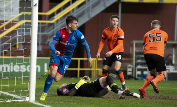 03/03/19 WILLIAM HILL SCOTTISH CUP QUARTER FINAL DUNDEE UNITED V INVERNESS CT TANNADICE - DUNDEE Aaron Doran turns away to celebrate after scoring late on for Inverness