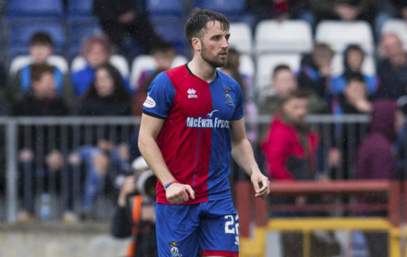 20/04/19 LADBROKES CHAMPIONSHIP INVERNESS CT v DUNDEE UTD (0-2) TULLOCH CALEDONIAN STADIUM - INVERNESS Inverness CT's Brad McKay leaves the field after being sent off