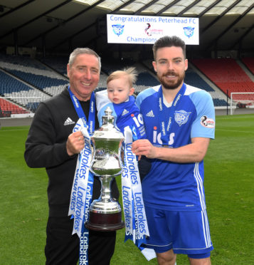 Ryan Dow, right, won the League 2 title with Peterhead.