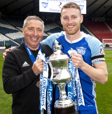 Peterhead manager Jim McInally and captain Rory McAllister.