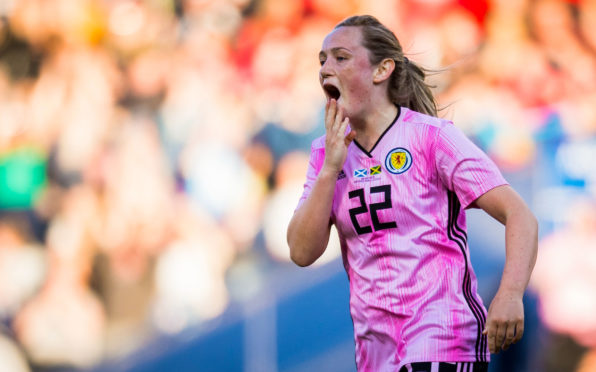 Scotland's Erin Cuthbert scored her side's first goal on Tuesday night.
