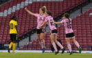 Scotland's Sophie Howard celebrates her goal to make it 3-2.