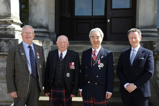 Pics show: SSA1 Dr Joseph Morrow, Lord Lyon King of Arms, Mr Ronnie Watt, Consul General Nozomu Takaoka, Lord Bruce Pic by: Dr Trevor Runcie