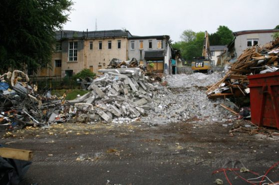 Fort William St Mary's Primary School being pulled down.