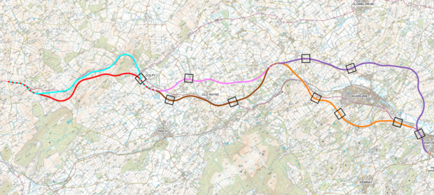 The newest list of potential routes for the A96 dualling scheme from Aberdeen to Huntly.