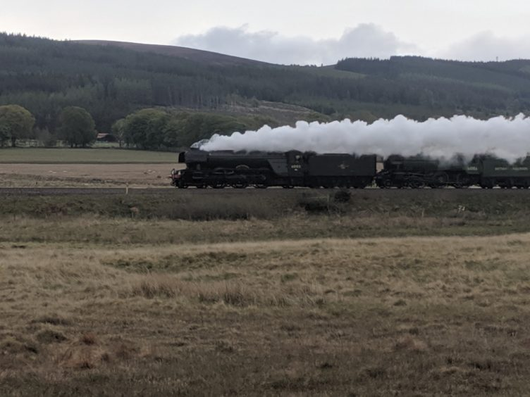 The Flying Scotsman passing Moy. Picture by Martin Soutter