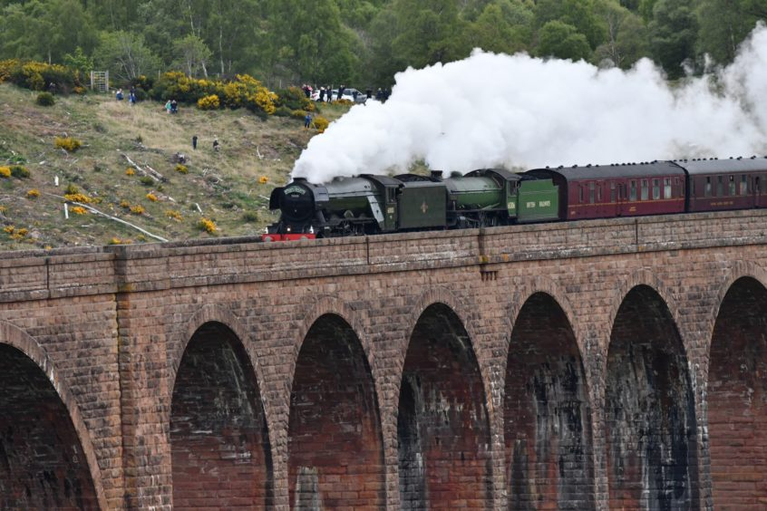 The Flying Scotsman at the Culloden viaduct. Picture by Simon Packman