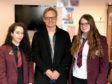 From left to right: Peterhead Academy pupil Ellie McDougall, film director Jon S Baird and pupil Chelsea Beaton