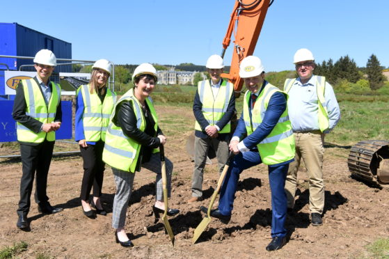 Andrew Bowie MP, Fiona Morrison, Angela Linton, chief executive of Hillcrest Housing Association, Paul Lindop, Andrew Rae from FM Construction and Councillor Sandy Wallace breaking ground at Mackie Village, Stonehaven.