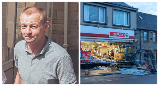 Duncan Elrick (left) was jailed for two years after admitting stealing a digger and smashing a shop window and trying to steal an ATM.