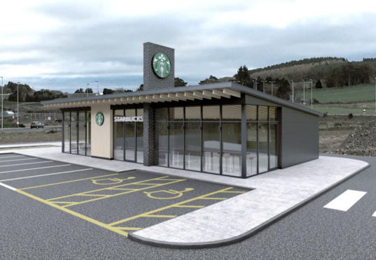"""The initial design for the proposed Westhill Starbucks included a large """"roof fin""""."""
