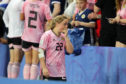 Erin Cuthbert leaves the field after the 3-3 draw.