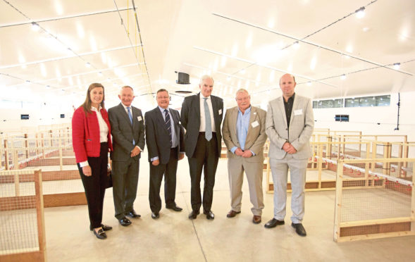 CI EL chief executive Lyndsay Chapman, Mike Cantlay, CI EL chairman Tim Bennett, Lord Henley, Professor Powell, and Dr Jos Houdijk, SRUC Professor of Animal Nutrition and Health at the opening of Allermuir Avian Innovation and Skills Centre