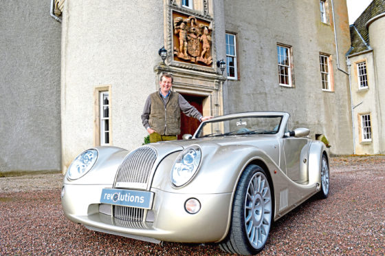 NE250 Guy Macpherson-Grant launches the North East 250, Scotland's newest tourist route, with a Morgan Aero 8 finished in Porsche Metallic Prosecco and lichen green leather, courtesy of Revolutions Perth, at Ballindalloch Castle.