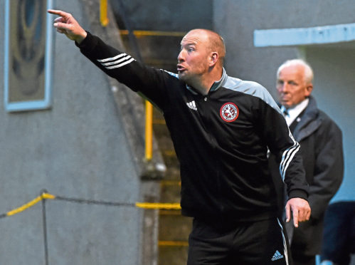 The Press & Journal Scottish Highland League. Huntly FC (orange/black) V Brora Rangers FC (red) Picture of Brora Rangers manager Ross Tokely.  Picture by KENNY ELRICK     02/08/2017