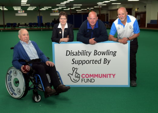Aberdeen Indoor Bowling club are launching disabled bowling nights, to try and get disabled people into the sport. CR0009971 Pictured from left, George Jenkins, Doris Senff, Alex (Tattie) Marshall and Dave Findlay. 05/06/19 Picture by KATH FLANNERY