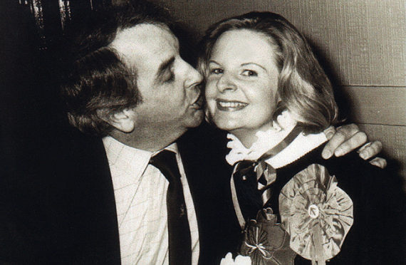 Dr Ivan Wisely congratulates his wife Jill Wisely following her election on May 3, 1984.