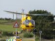 The B9040 was shut for 45 minutes as an air ambulance attended an incident where a cyclist took unwell.