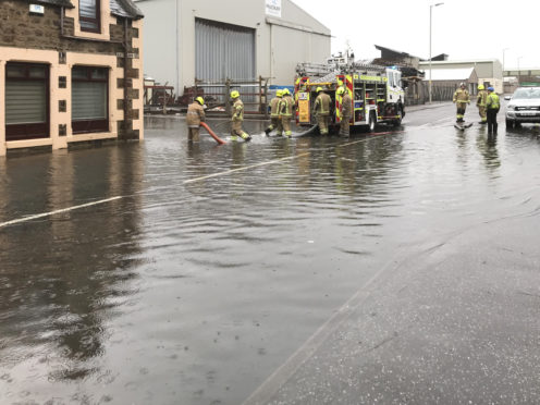 Homes have been flooded on Rathburn Street in Buckie.