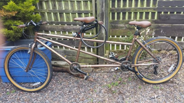 The tandem bicycle taken from Cove