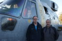 Morayvia Chairman Mark Mair and Director Richard Murray with the Merlin Helicopter