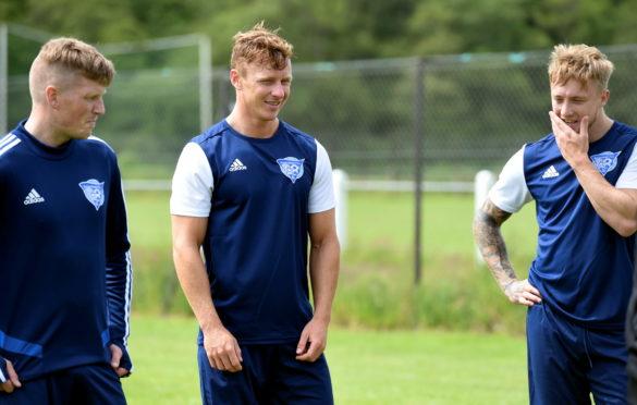 Scott Hooper and Aidan Smith at Peterhead squad at pre-season training at Glenury Park, Stonehaven.