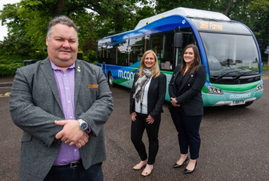 Moray Council leader Graham Leadbitter, Hitrans public transport information officer Julie Cromarty, Hitrans projects and policy officer Jayne Golding.