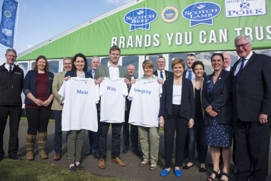 First Minister Nicola Sturgeon with industry leaders and some of the Meat With Integrity farmers.