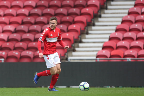 . Mitchell Curry of Middlesbrough during the Premier League 2 Divison 2 match between Middlesbrough and Sunderland at the Riverside Stadium, Middlesbrough on Sunday 7th April 2019. (Credit: Mark Fletcher | MI News) (Photo by MI News/NurPhoto via Getty Images)