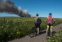 A gorse fire near Hopeman, Moray in July 2018.