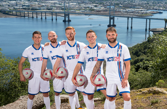 Caley Thistle's new signings: (left to right) Nikolay Todorov, James Vincent, David Carson, Mitchell Curry and James Keatings.