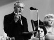 7th October 1968:  Prime Minister, Harold Wilson (1916 - 1995) making a speech In the background is Jenny Lee, widow of Aneurin Bevan who was influential in setting up the Open University.  (Photo by Evening Standard/Getty Images)