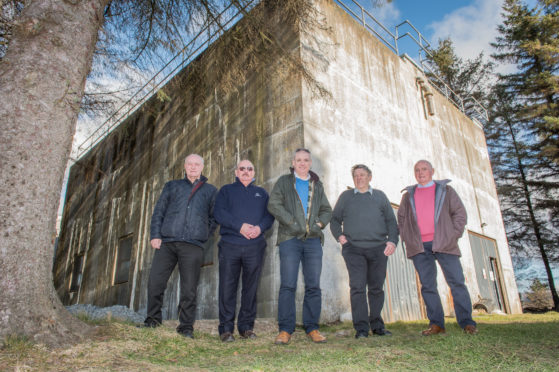 Keith Golf Club members outside the water tower. Pictured: Les Dawson, Ian Bremner, Moray MSP Richard Lochhead, Robbie McLaren, Sandy Gauld.