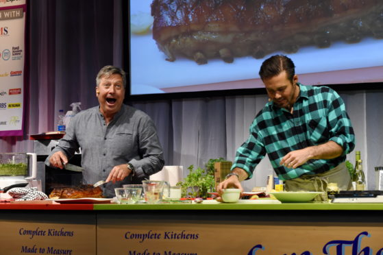 Taste of Grampian 2019 at the Thainstone Centre, Inverurie. Picture of (L-R) John Torode and Spencer Matthews demonstration  Picture by KENNY ELRICK     01/06/2019