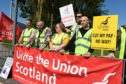 Aberdeen Airport staff during striking action earlier this month