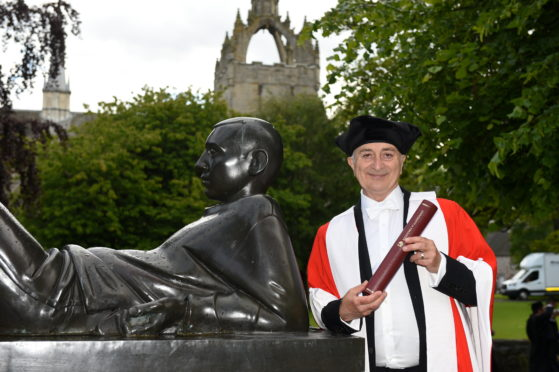 CR0010591 Aberdeen University Graduation 2019, at Elphinstone Hall, King's College campus, at Old Aberdeen. Picture of Sir Tony Robinson, honorary doctorate.  Picture by KENNY ELRICK     17/06/2019
