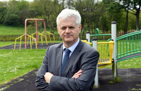Cllr Alan Fakley, speaking out about the playpark on Meethill Road, in Peterhead. Picture by Kami Thomson