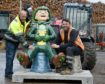 "The ""Oor Wullies"" which are to grace Inverness arrived in the city on Thursday morning ahead of positioning this weekend. Delivery driver Ron Shearer (left) of Northwards Transport and plant operator Ronnie Lundie of Morris Lesley unload the statues in Inverness. Picture by Sandy McCook"