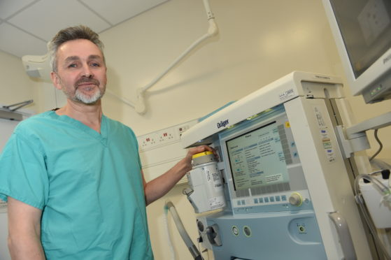 Consultant anaesthetist Kenneth Barker at Raigmore Hospital. Picture by Sandy McCook.