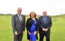 L-R: Councillors Alan Fakley, Dianne Beagrie and Norman Smith at the site of the proposed new Peterhead Academy at Kinmundy.