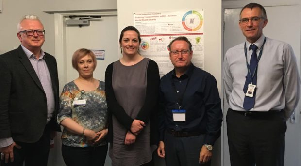 Nigel Henderson; Jennifer Maclean, Moray service manager, Penumbra; Kevin O'Neill; Karen Howard, psychiatric liaison co-ordinator, Moray Health & Social Care Partnership; Constable Chris Page, partnership development officer, Police Scotland.