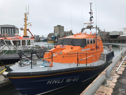 The Misses Robertson of Kintail lifeboat sits in Peterhead harbour