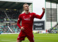 James Wilson scored in his final game for Aberdeen against Hibernian.